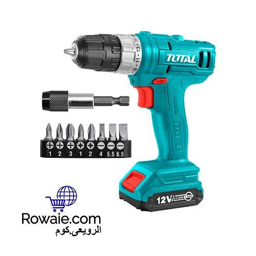 Total TDLI1211 Cordless Drill 12V | شنيور شحن 12 فولت توتال + حامل سنون 9 قطع