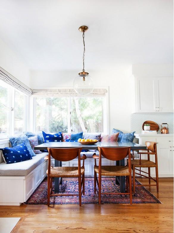 Hmong indigo batik textile style home dining boho eclectic interior design