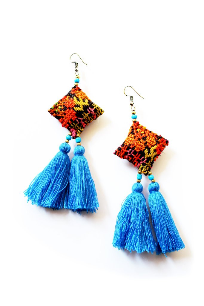 Hmong textile embroidered blue orange earrings Kate chan vintage artisan made tassell