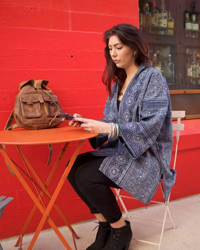 Indigo wax dyed batik textile kimono jacket ethnic boho eclectic artisan hand made