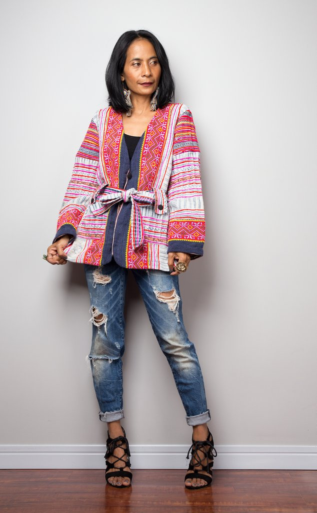 Pink hmong hill tribe vintage textile slow ethical fashion