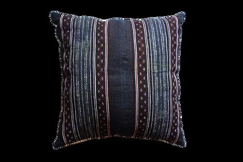 Vintage Indigo Batik Cushion Cover - Dark Blue/Berry