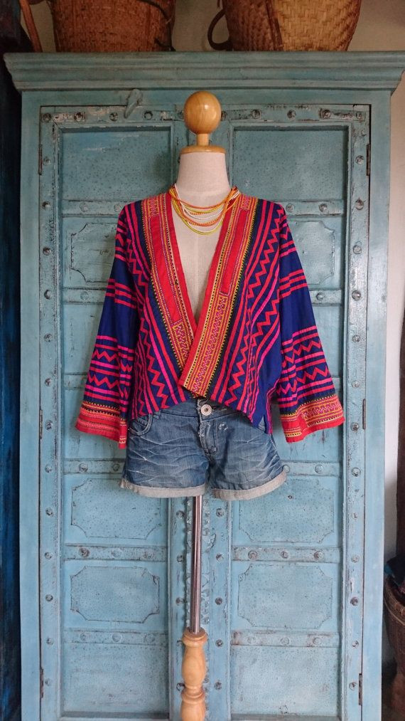 Hand woven hmong batik jacket hand made artisan boho eclectic ethical fashion