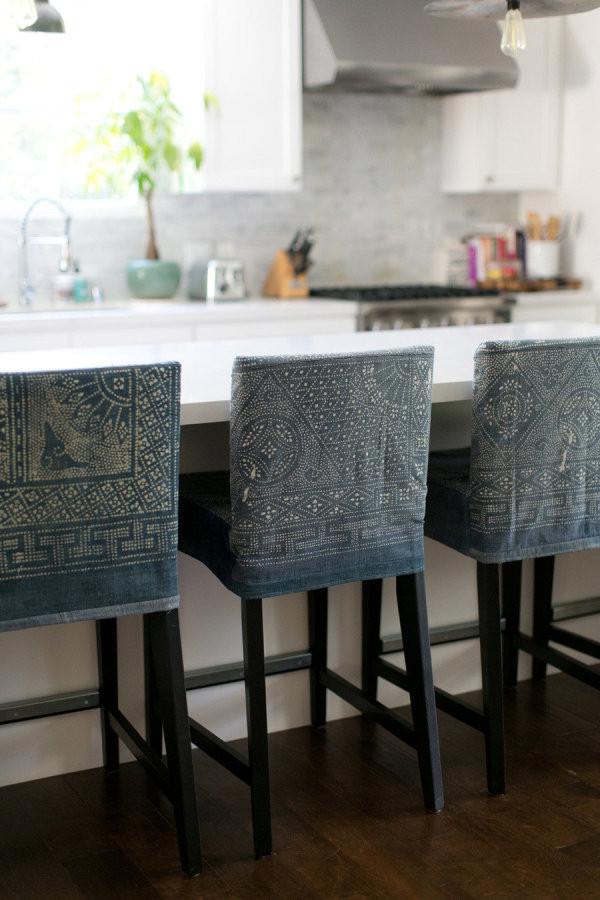Hmong indigo batik textile style home kitchen boho eclectic interior design