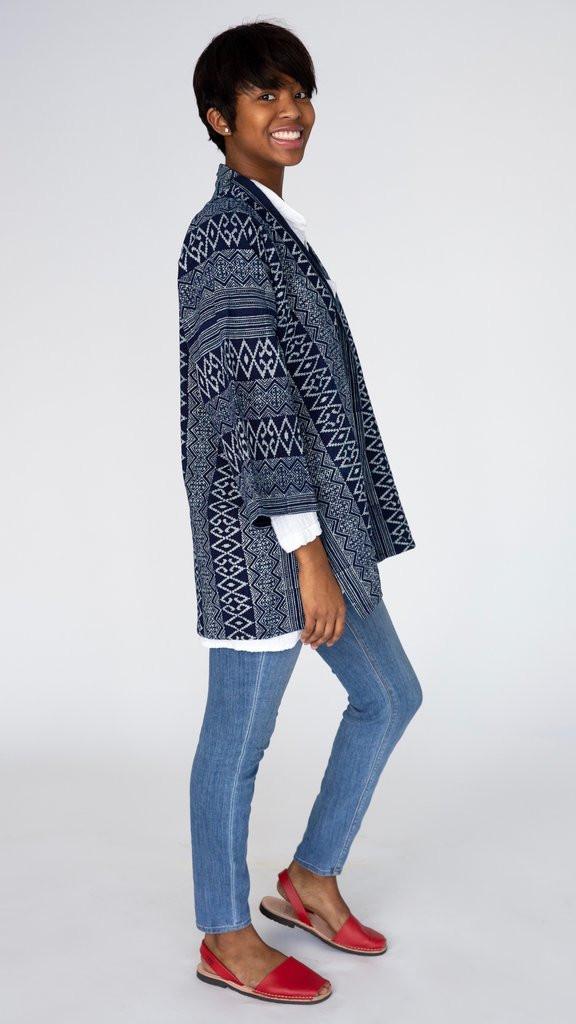 Block printed indigo hand made artisan textile kimono jacket ethical slow fashion