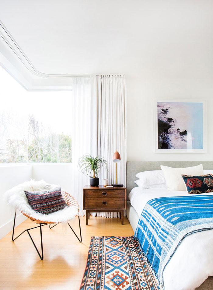Hmong indigo batik textile style home bedroom boho eclectic interior design
