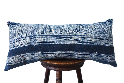 Blue boho lumbar cushion