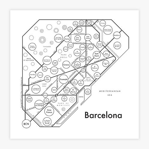 Barcelona Letterpress Print