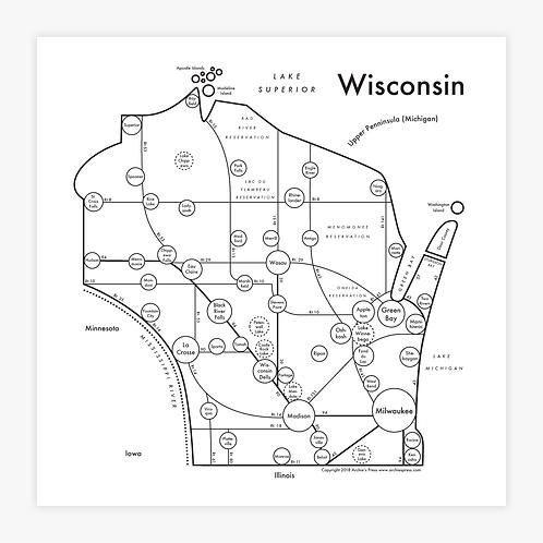 Wisconsin Letterpress Print