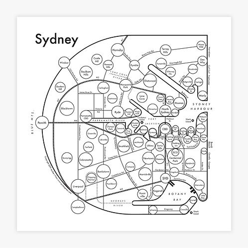 Sydney Letterpress Print