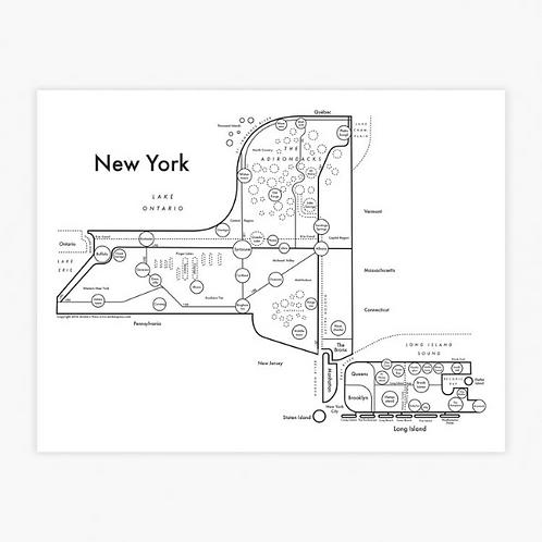 New York State Letterpress Print