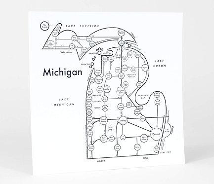 Michigan Letterpress Print