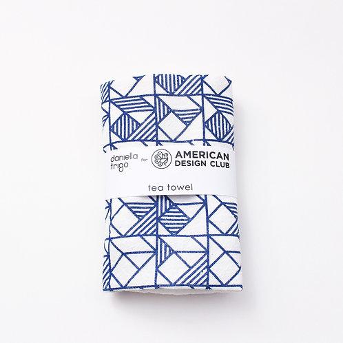 Squares Print Tea Towel - Natural and Blue