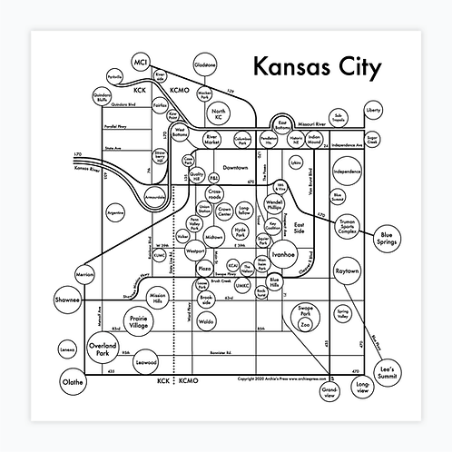 Kansas City Letterpress Print