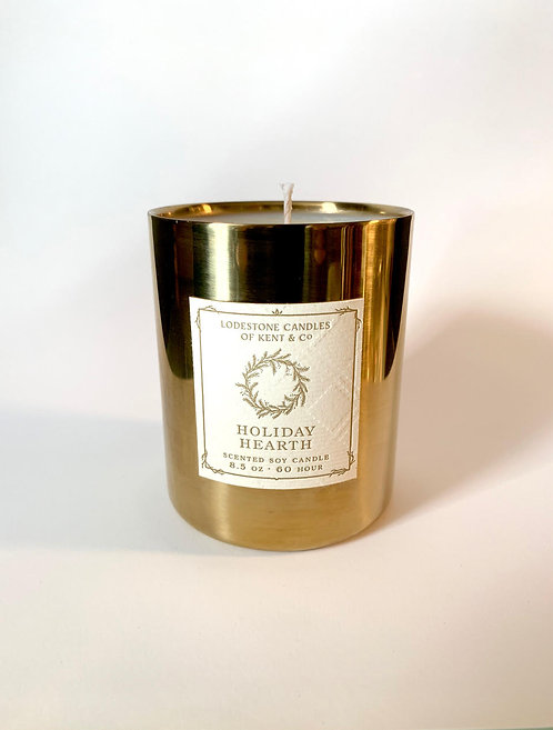 Holiday Hearth Brass Candle
