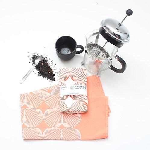 Onion Print Tea Towel - Orange and White