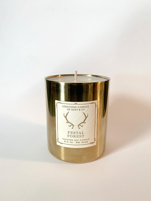 Festal Forest Brass Candle