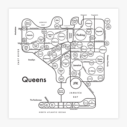 Queens Letterpress Print