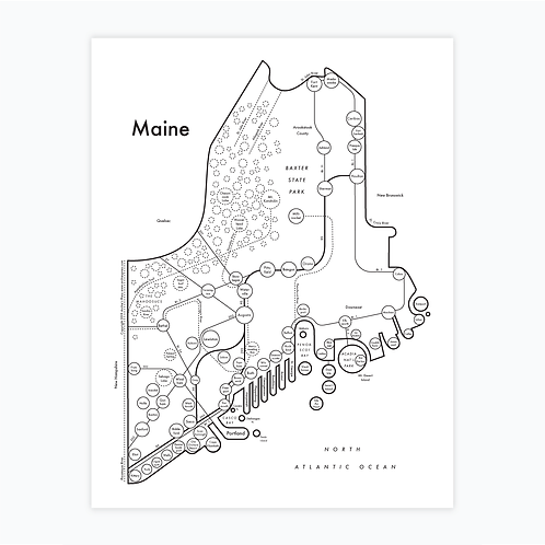 Maine Letterpress Print