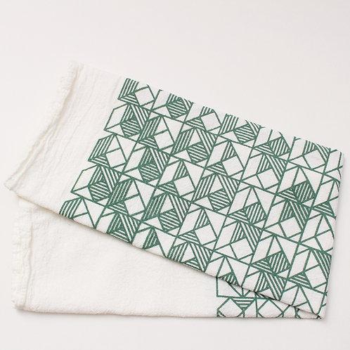 Squares Print Tea Towel - Natural and Green
