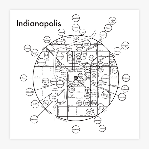 Indianapolis Letterpress Print
