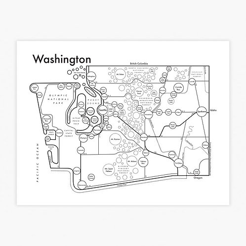 Washington State Letterpress Print