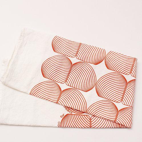 Onion Print Tea Towel - White & Orange