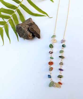 Half Multi Stone Necklace