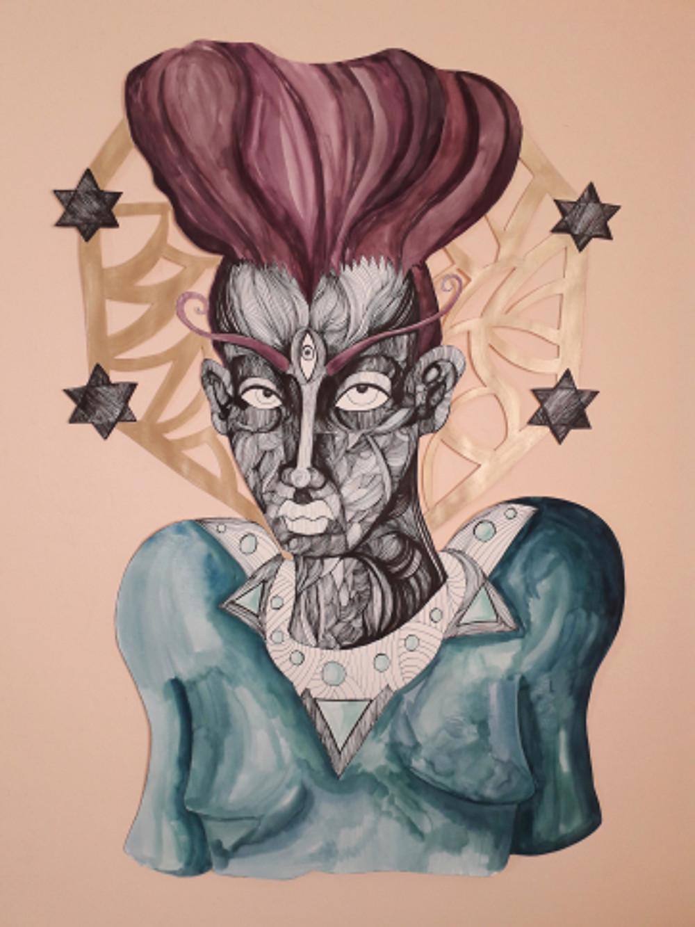 impossible expectations part ii, 97x66 cm, paper cut figure, inking pen, watercolor, 2018
