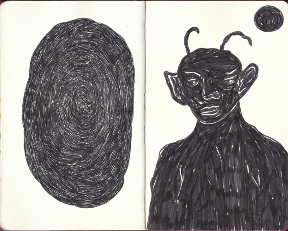 Άτιτλο, 21x26cm, Μεικτή τεχνική σε sketchbook, 2017 (2)
