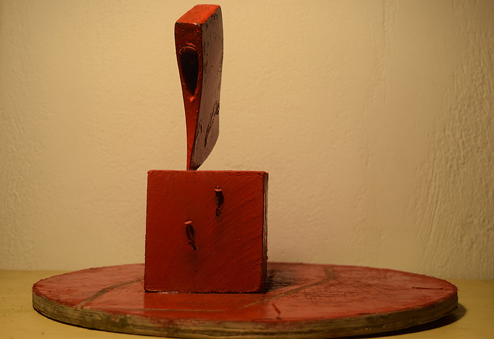08 karl & rene - dialogue practices series object no 1 (axe, wood, paint, nails)