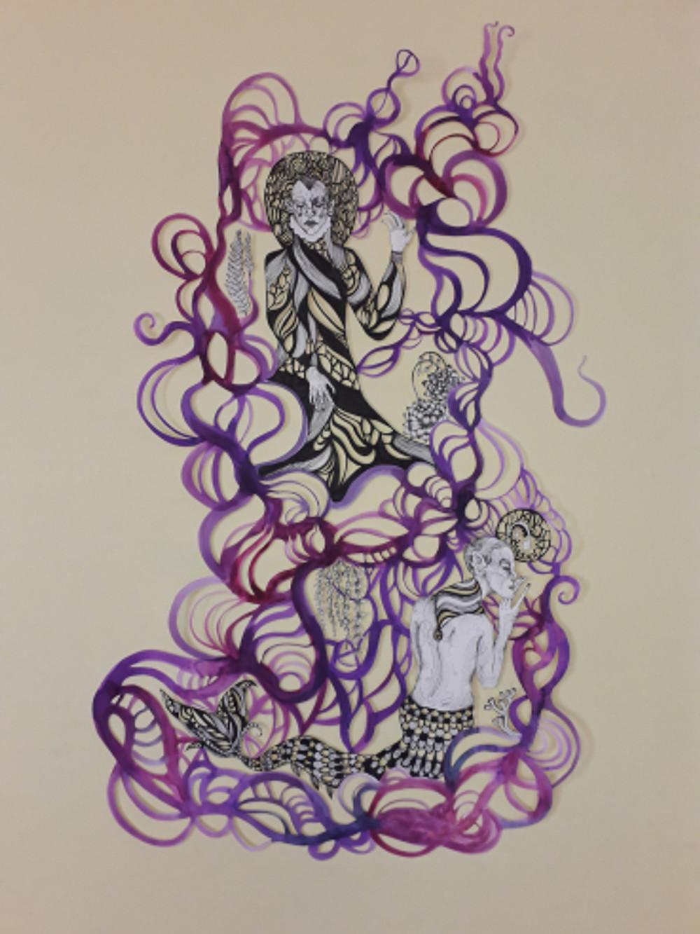 connections vol ii, part iii, 100x70 cm, paper cut figure, inking pen, watercolor, 2018