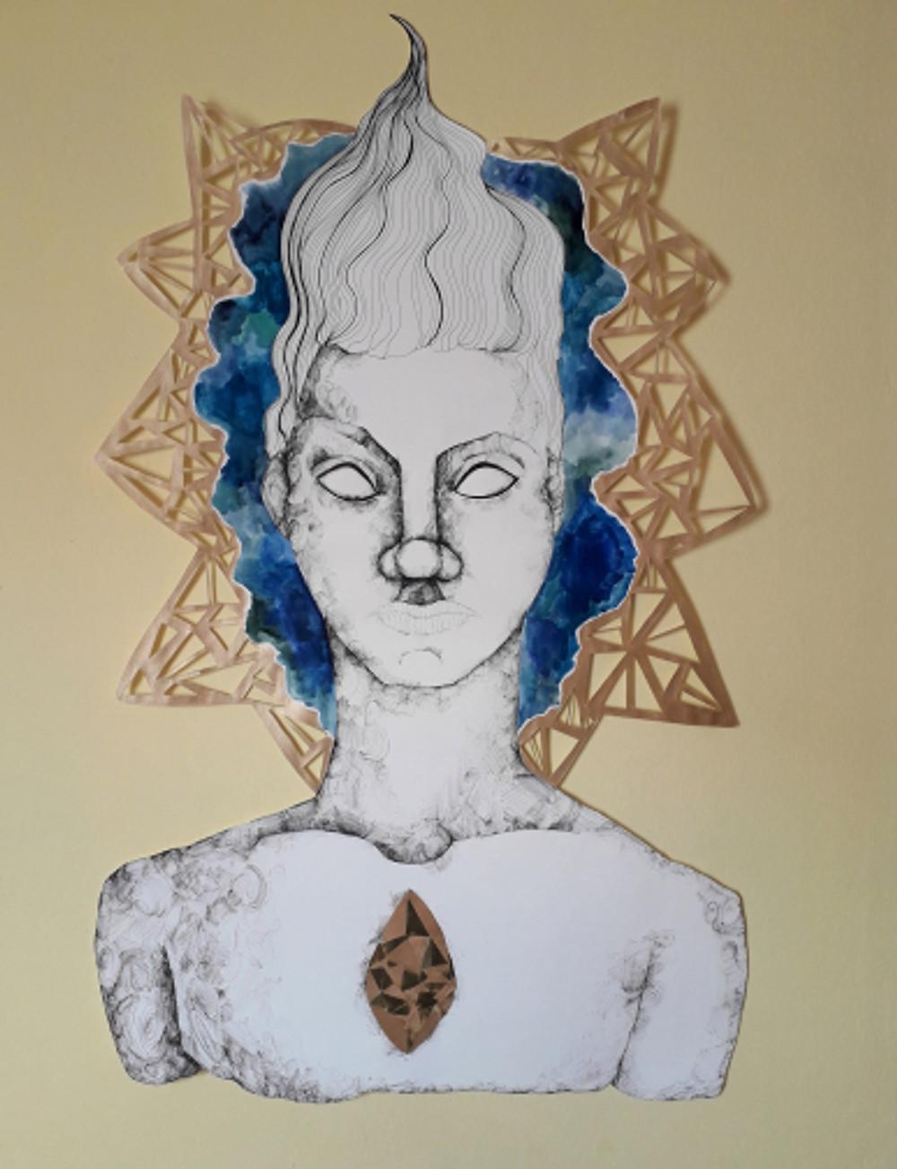 a stance of defiance,100x67 cm, paper cut figure, inking pen, watercolor, 2018