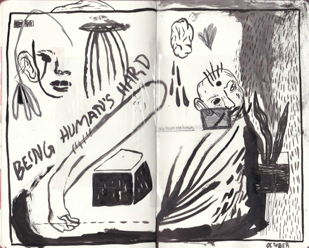 One brain, 21x26cm, Μεικτή τεχνική σε sketchbook, 2017