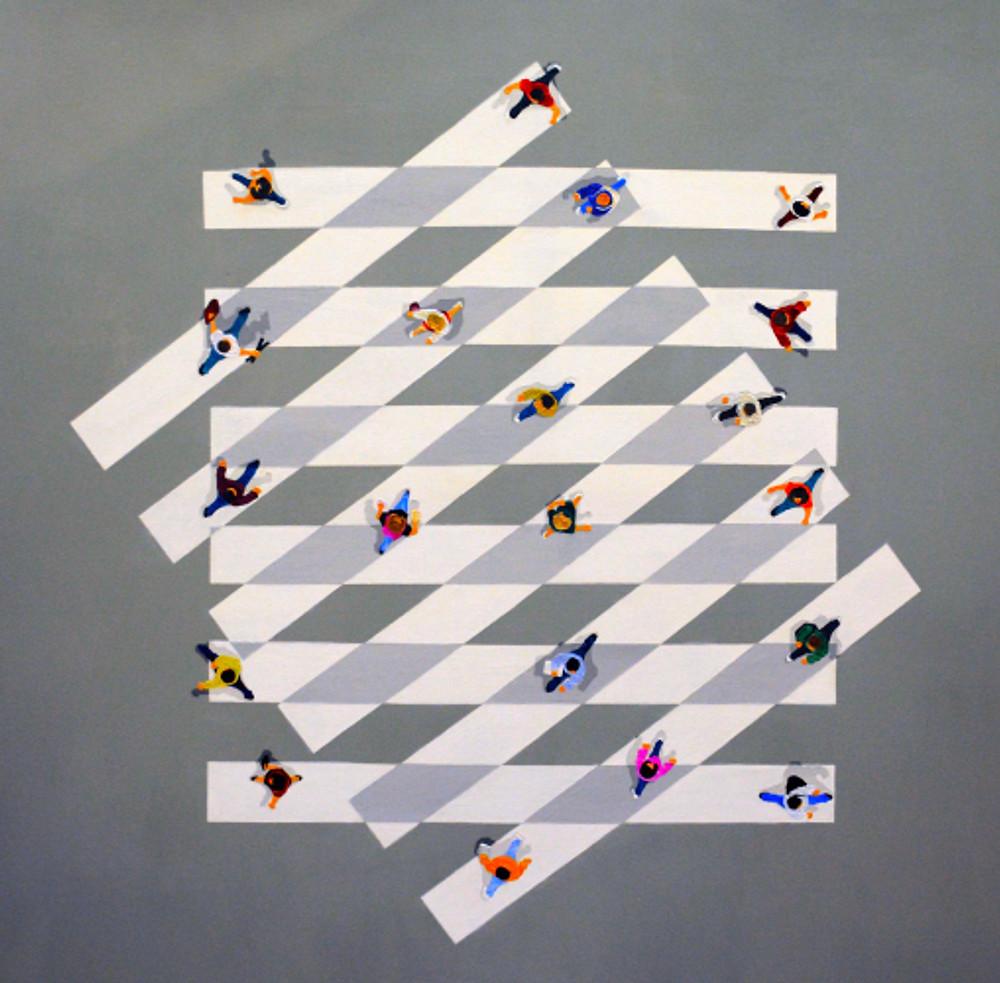 interaction, 150x150 cm, acrylics on canvas, 2018