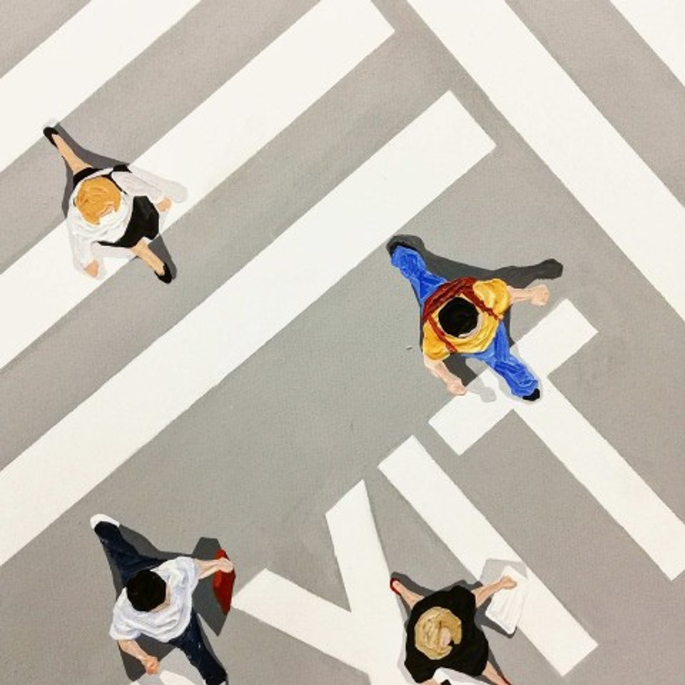 exit,150x150 cm, acrylics on canvas, 2018 (detail)