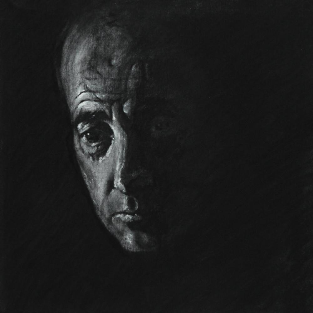 Πορτρέτο,40x40εκ,κάρβουνο σε καμβά,2015 (2)