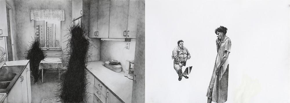 Ένα Περιστέρι Έκατσε Σε Ένα Κλαδί Συλλογιζόμενο Την Ύπαρξή Του, 70x 140 cm, μολύβι σε χαρτί, 2017