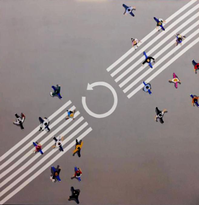 neverending shifting,150x150 cm, acrylics on canvas, 2018