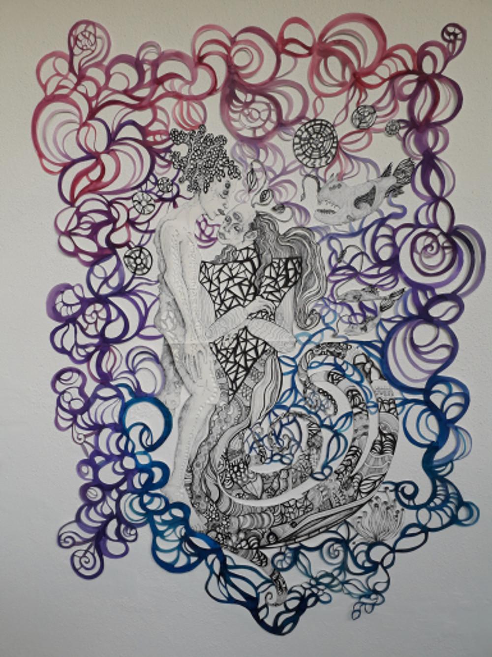 connections vol ii part iv, 150x70 cm, paper cut figure, inking pen, watercolor, 2018