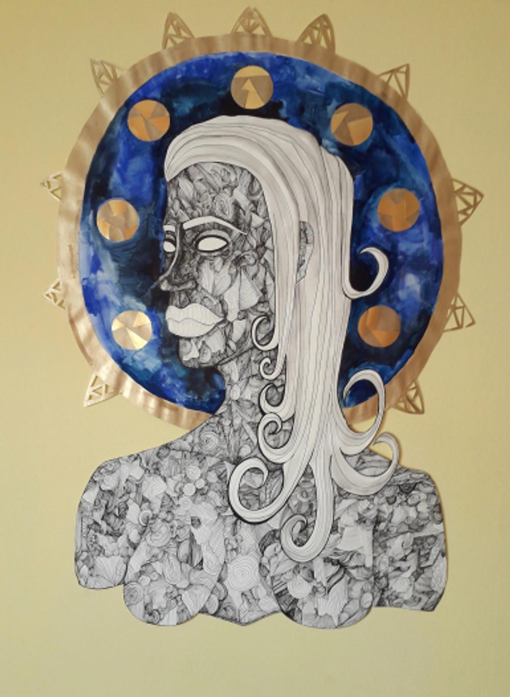despair has no importance,100x69 cm, paper cut figure, inking pen, watercolor, 2018.jpg