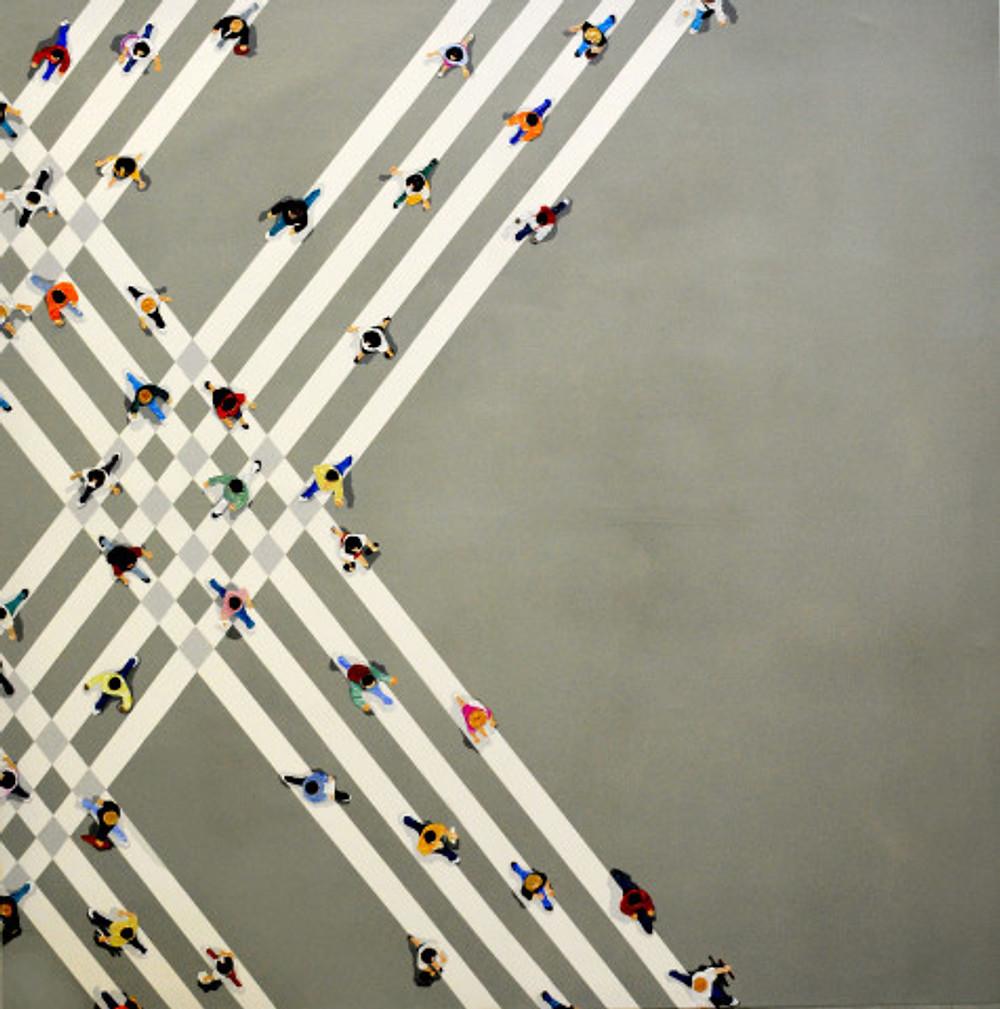 negotiated identities,150x150 cm, acrylics on canvas, 2018