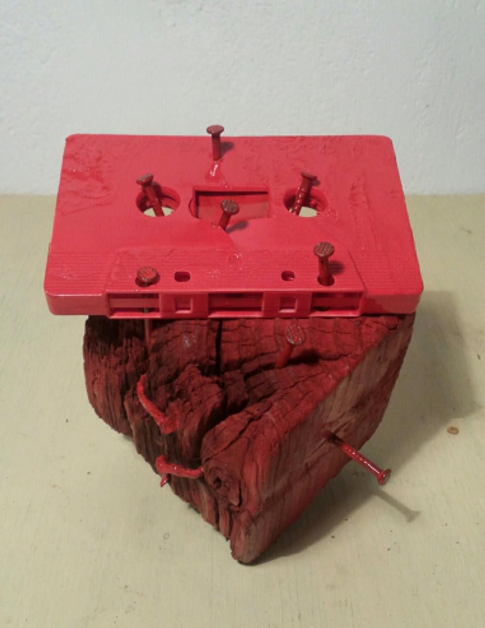 05 karl & rene - mai 12 asaotpu anti-cassette (wood, cassette, nails, paint)