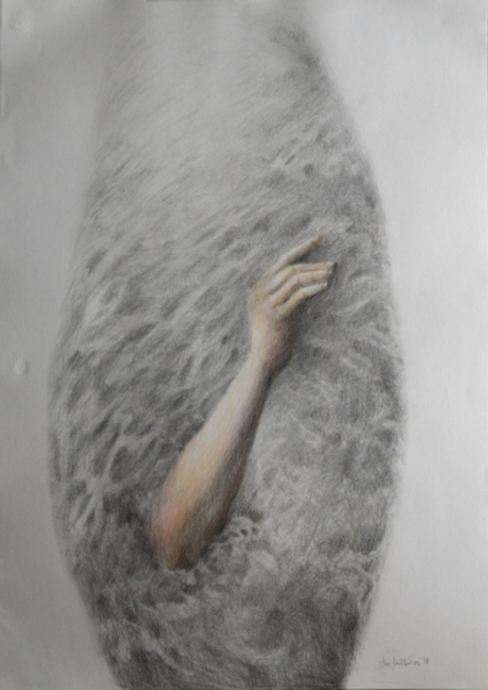 cocoon hand - 50X70 - color pencils on paper - 2018