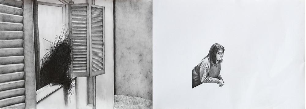 Διαφυγή, 50x 140 cm, μολύβι σε χαρτί, 2018