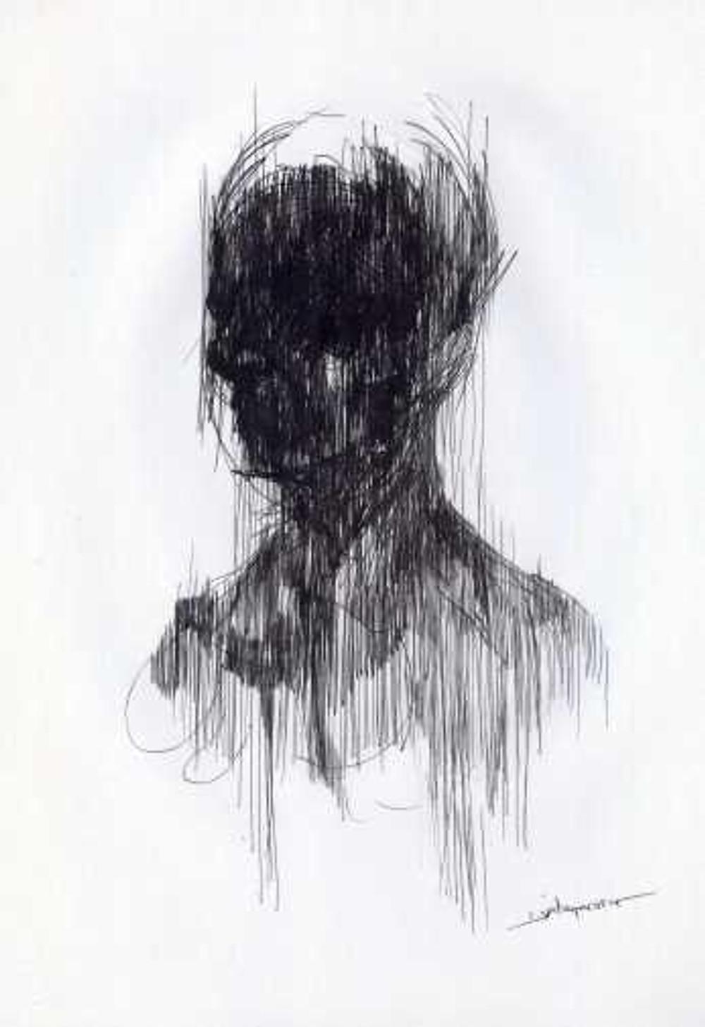 Μαύρο πορτραίτο 21x29,7εκ. μελάνι σε χαρτί 2012