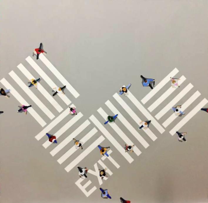 exit, 150x150 cm, acrylics on canvas, 2018