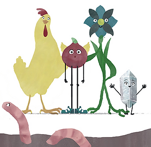 An animated chicken, a red onion, a flower, and a crystal, all standing together