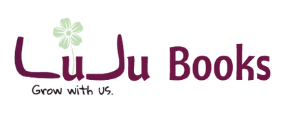 "LuJu Books logo with flower, ""Grow with us"" tag line"