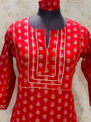 Jaipuri  kurti With  liquid Zari print